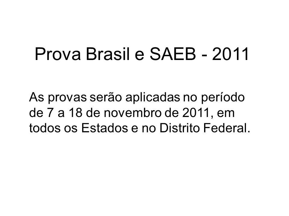 Prova Brasil e SAEB - 2011 As provas serão aplicadas no período de 7 a 18 de novembro de 2011, em todos os Estados e no Distrito Federal.