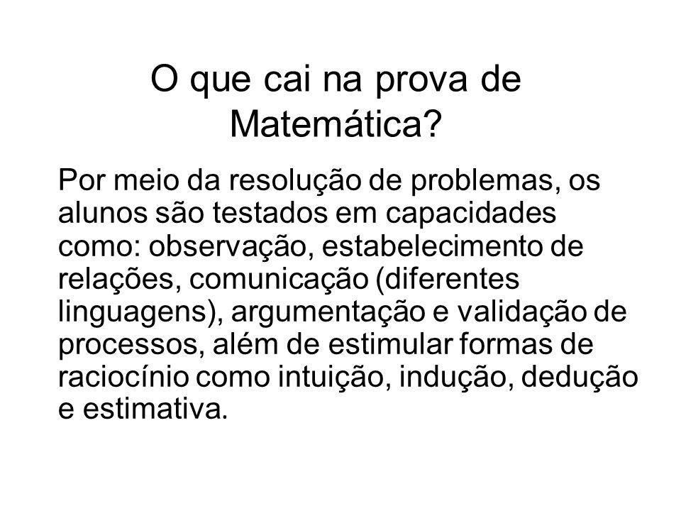 O que cai na prova de Matemática.