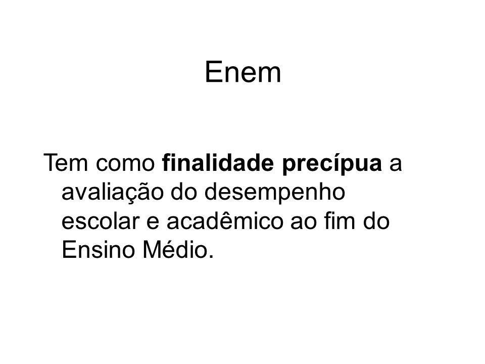 Enem Tem como finalidade precípua a avaliação do desempenho escolar e acadêmico ao fim do Ensino Médio.