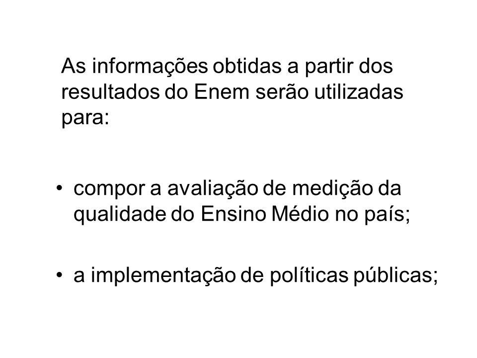 As informações obtidas a partir dos resultados do Enem serão utilizadas para: compor a avaliação de medição da qualidade do Ensino Médio no país; a implementação de políticas públicas;