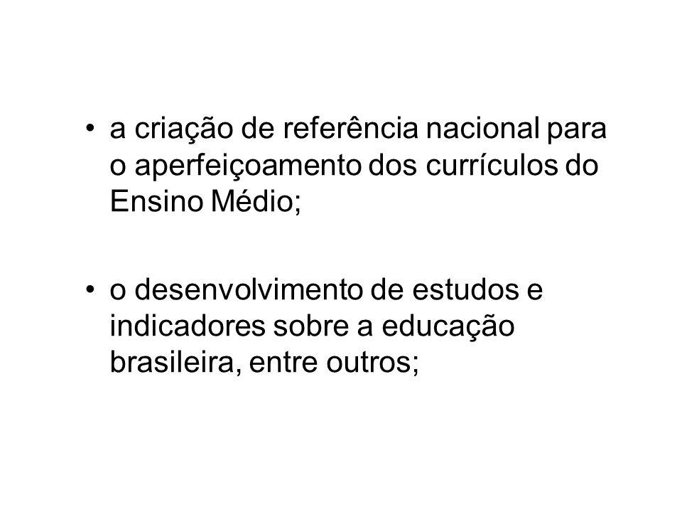a criação de referência nacional para o aperfeiçoamento dos currículos do Ensino Médio; o desenvolvimento de estudos e indicadores sobre a educação brasileira, entre outros;