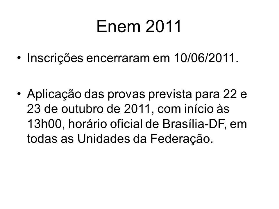 Enem 2011 Inscrições encerraram em 10/06/2011.