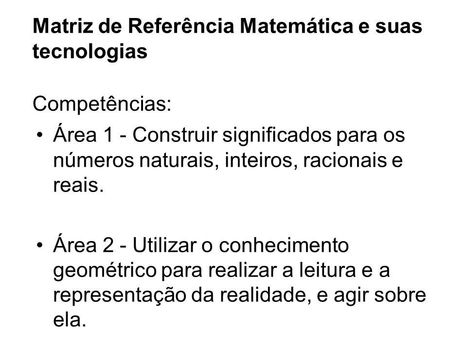 Matriz de Referência Matemática e suas tecnologias Competências: Área 1 - Construir significados para os números naturais, inteiros, racionais e reais.