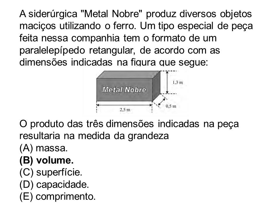 A siderúrgica Metal Nobre produz diversos objetos maciços utilizando o ferro.