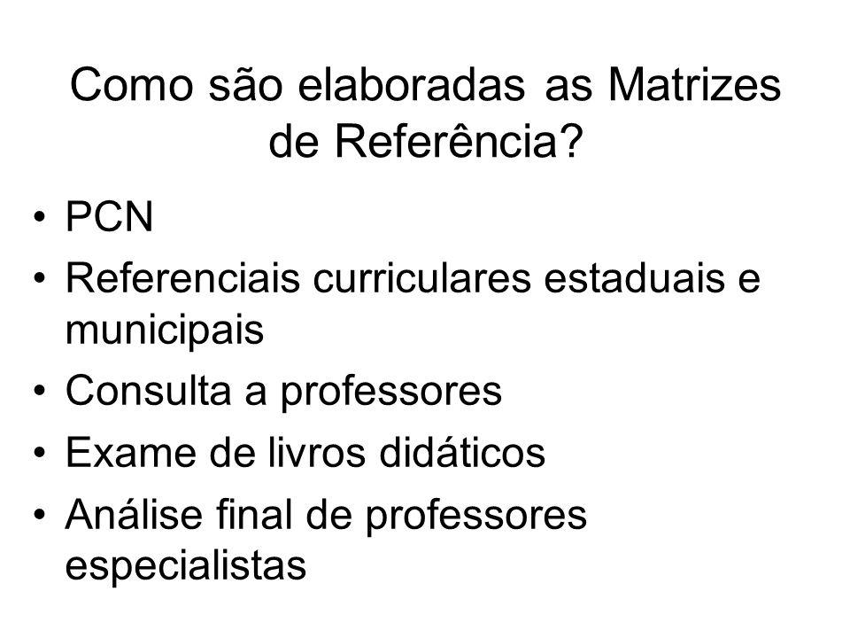 Como são elaboradas as Matrizes de Referência.