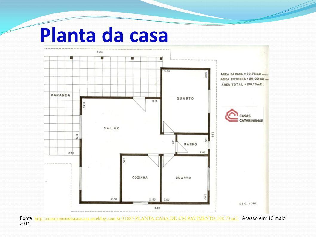 Planta da casa Fonte: http://comoconstruirasuacasa.arteblog.com.br/31685/PLANTA-CASA-DE-UM-PAVIMENTO-108-73-m2/.