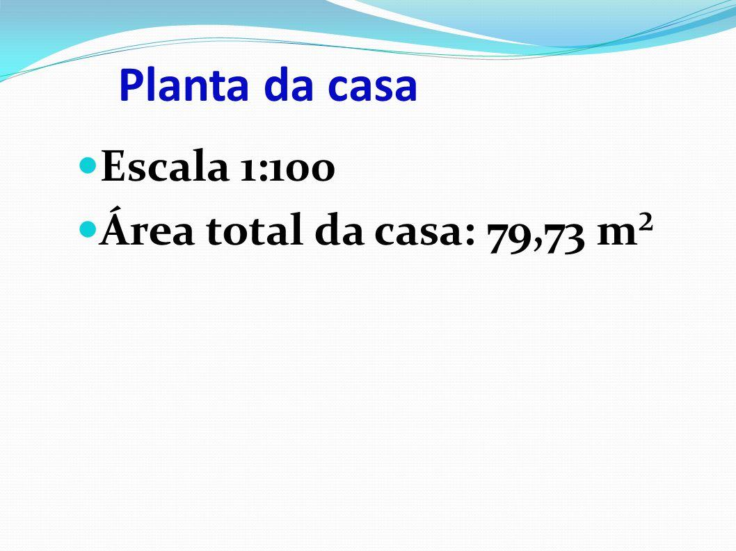 Planta da casa Escala 1:100 Área total da casa: 79,73 m²
