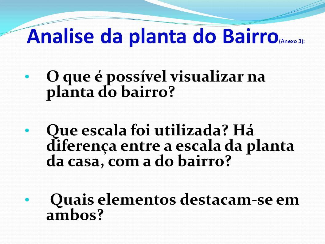 Analise da planta do Bairro (Anexo 3): O que é possível visualizar na planta do bairro.