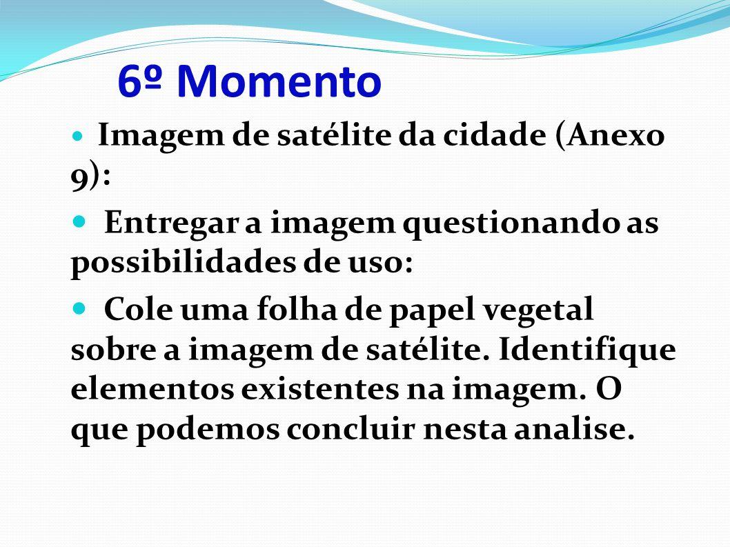 6º Momento Imagem de satélite da cidade (Anexo 9): Entregar a imagem questionando as possibilidades de uso: Cole uma folha de papel vegetal sobre a imagem de satélite.