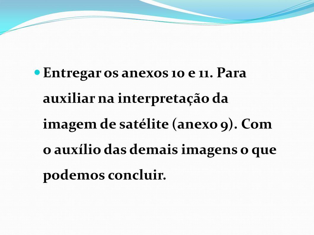 Entregar os anexos 10 e 11.Para auxiliar na interpretação da imagem de satélite (anexo 9).
