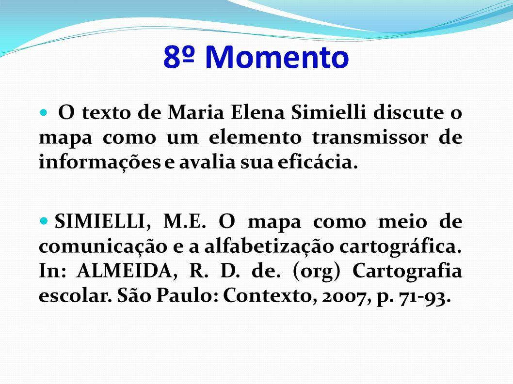8º Momento O texto de Maria Elena Simielli discute o mapa como um elemento transmissor de informações e avalia sua eficácia.