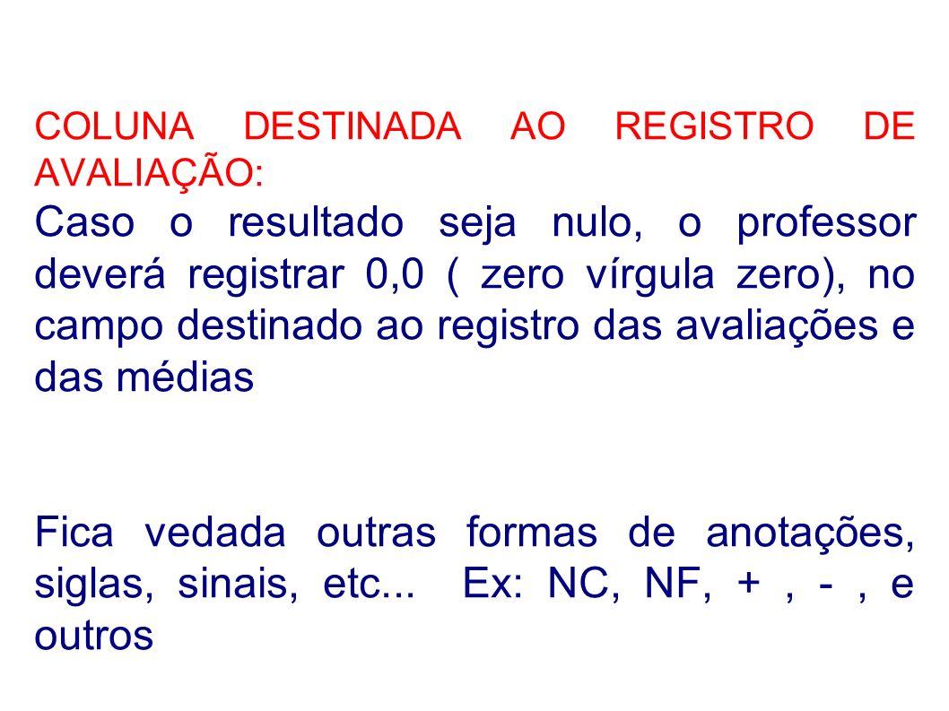 COLUNA DESTINADA AO REGISTRO DE AVALIAÇÃO: Caso o resultado seja nulo, o professor deverá registrar 0,0 ( zero vírgula zero), no campo destinado ao re