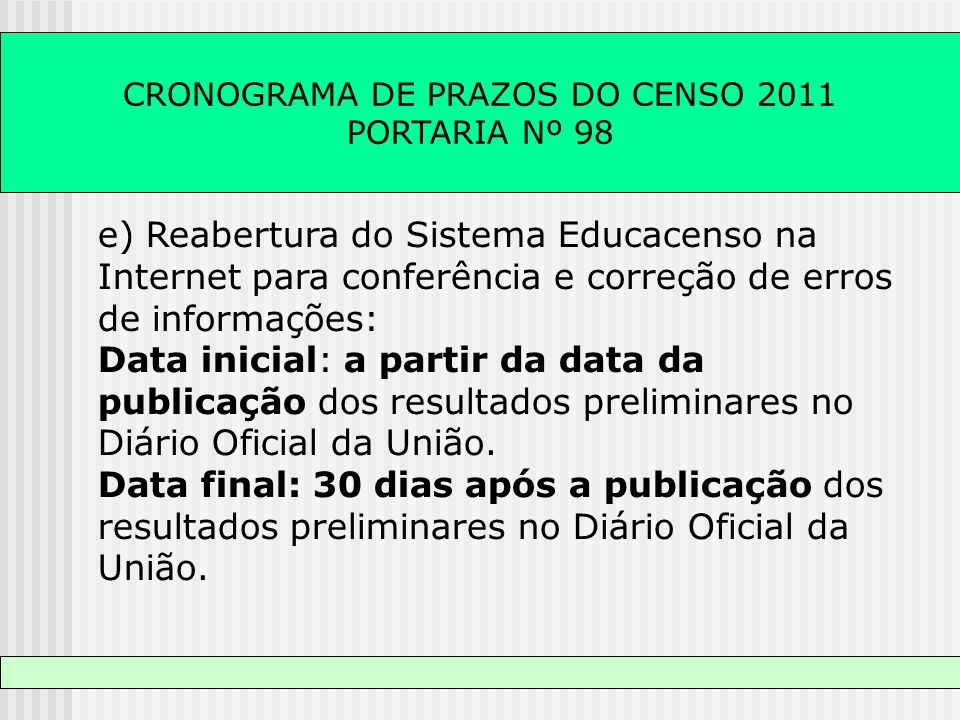 CRONOGRAMA DE PRAZOS DO CENSO 2011 PORTARIA Nº 98 e) Reabertura do Sistema Educacenso na Internet para conferência e correção de erros de informações: