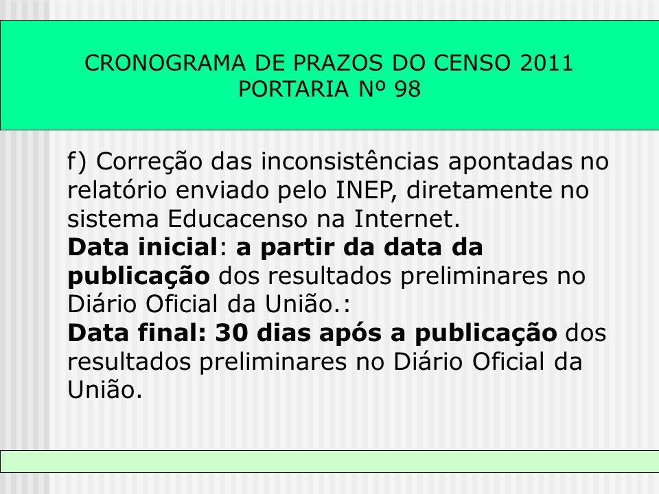 CRONOGRAMA DE PRAZOS DO CENSO 2011 PORTARIA Nº 98 f) Correção das inconsistências apontadas no relatório enviado pelo INEP, diretamente no sistema Edu