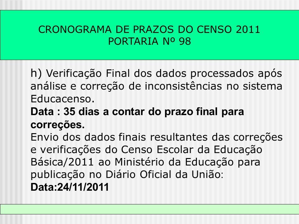 CRONOGRAMA DE PRAZOS DO CENSO 2011 PORTARIA Nº 98 h) Verificação Final dos dados processados após análise e correção de inconsistências no sistema Edu