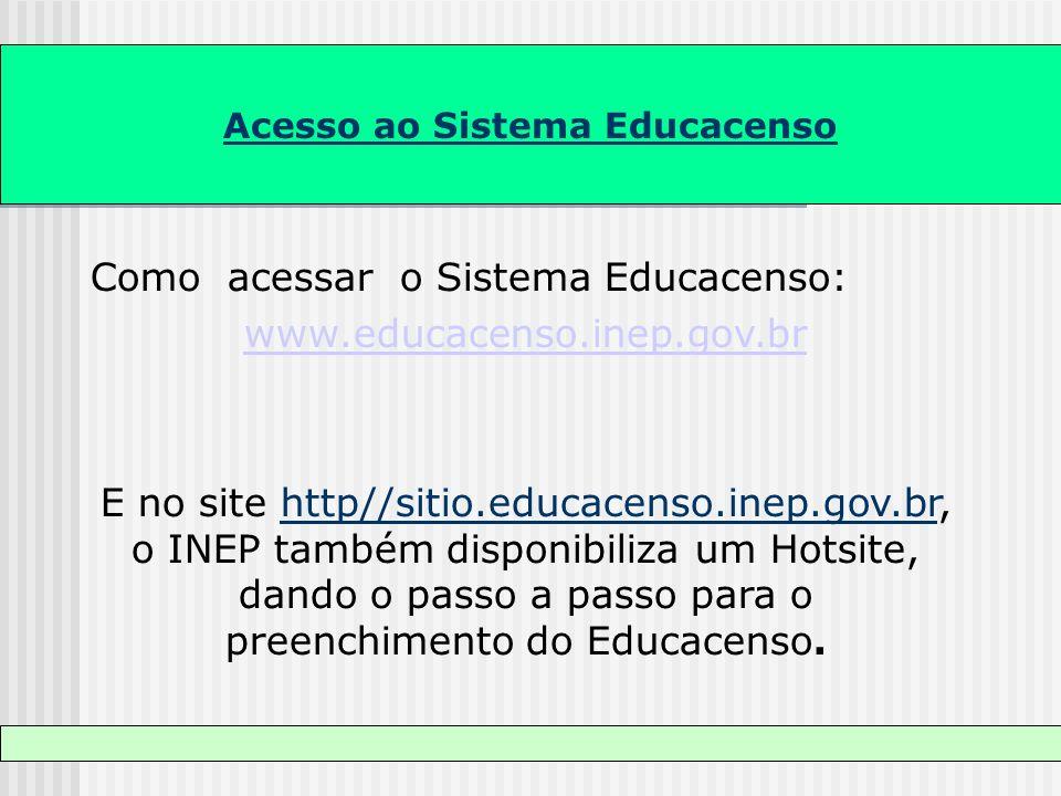 Acesso ao Sistema Educacenso Como acessar o Sistema Educacenso: www.educacenso.inep.gov.br E no site http//sitio.educacenso.inep.gov.br, o INEP também