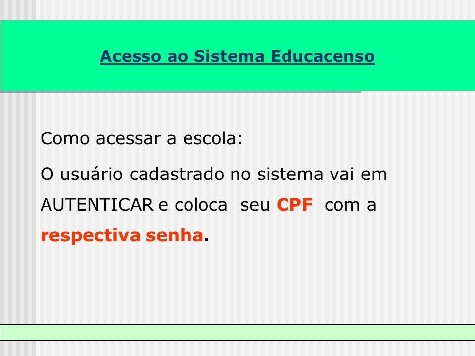 Acesso ao Sistema Educacenso Como acessar a escola: O usuário cadastrado no sistema vai em AUTENTICAR e coloca seu CPF com a respectiva senha.