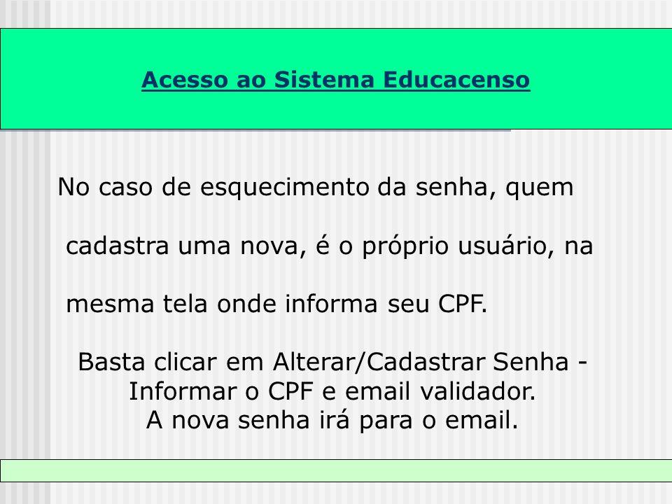 Acesso ao Sistema Educacenso No caso de esquecimento da senha, quem cadastra uma nova, é o próprio usuário, na mesma tela onde informa seu CPF. Basta