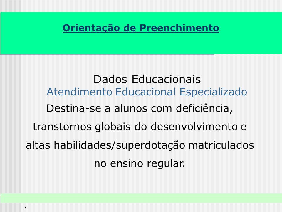 Orientação de Preenchimento Dados Educacionais Atendimento Educacional Especializado Destina-se a alunos com deficiência, transtornos globais do desen