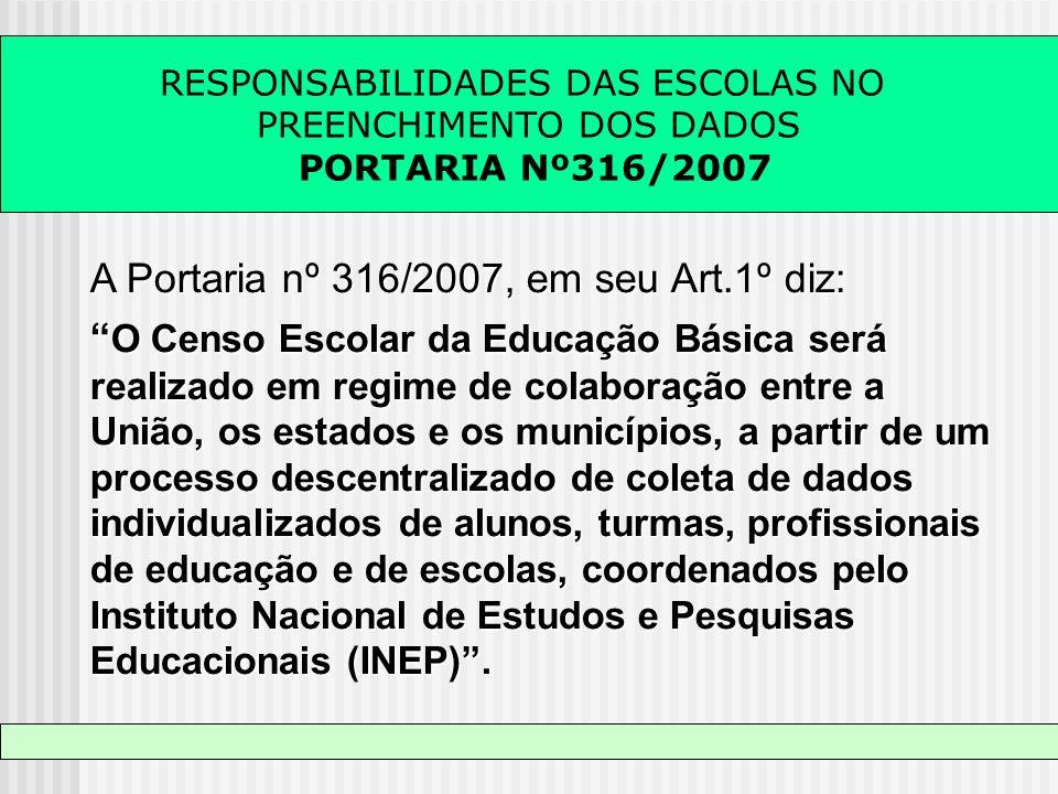 RESPONSABILIDADES DAS ESCOLAS NO PREENCHIMENTO DOS DADOS PORTARIA Nº316/2007 A Portaria nº 316/2007, em seu Art.1º diz: O Censo Escolar da Educação Bá