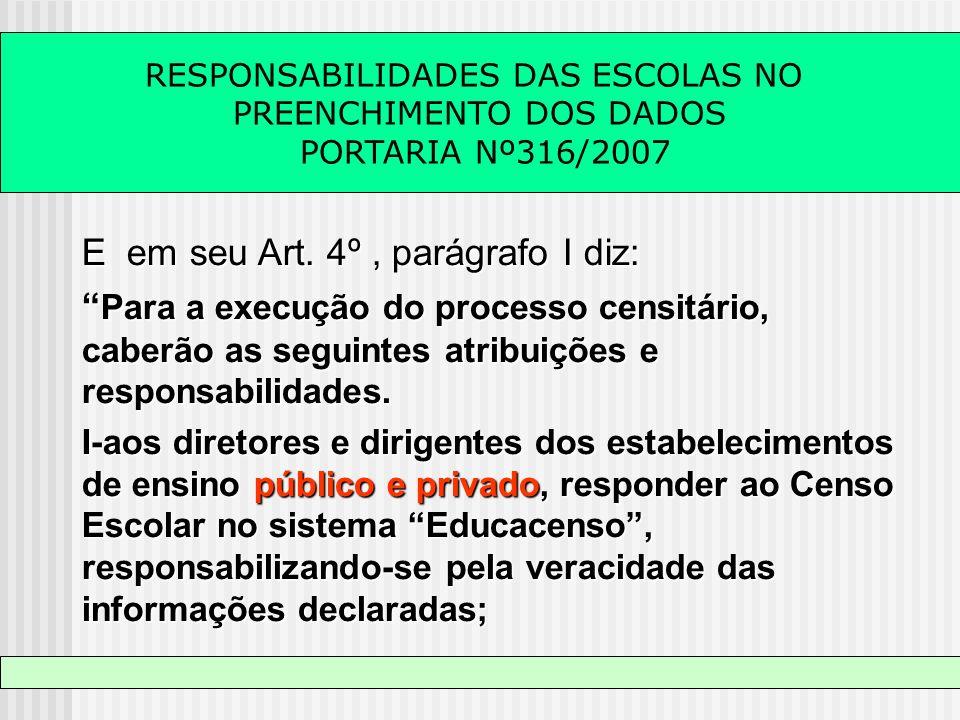 RESPONSABILIDADES DAS ESCOLAS NO PREENCHIMENTO DOS DADOS PORTARIA Nº316/2007 E em seu Art. 4º, parágrafo I diz: Para a execução do processo censitário