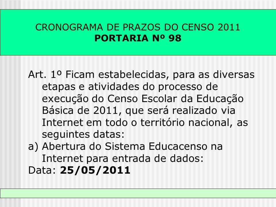 CRONOGRAMA DE PRAZOS DO CENSO 2011 PORTARIA Nº 98 Art. 1º Ficam estabelecidas, para as diversas etapas e atividades do processo de execução do Censo E