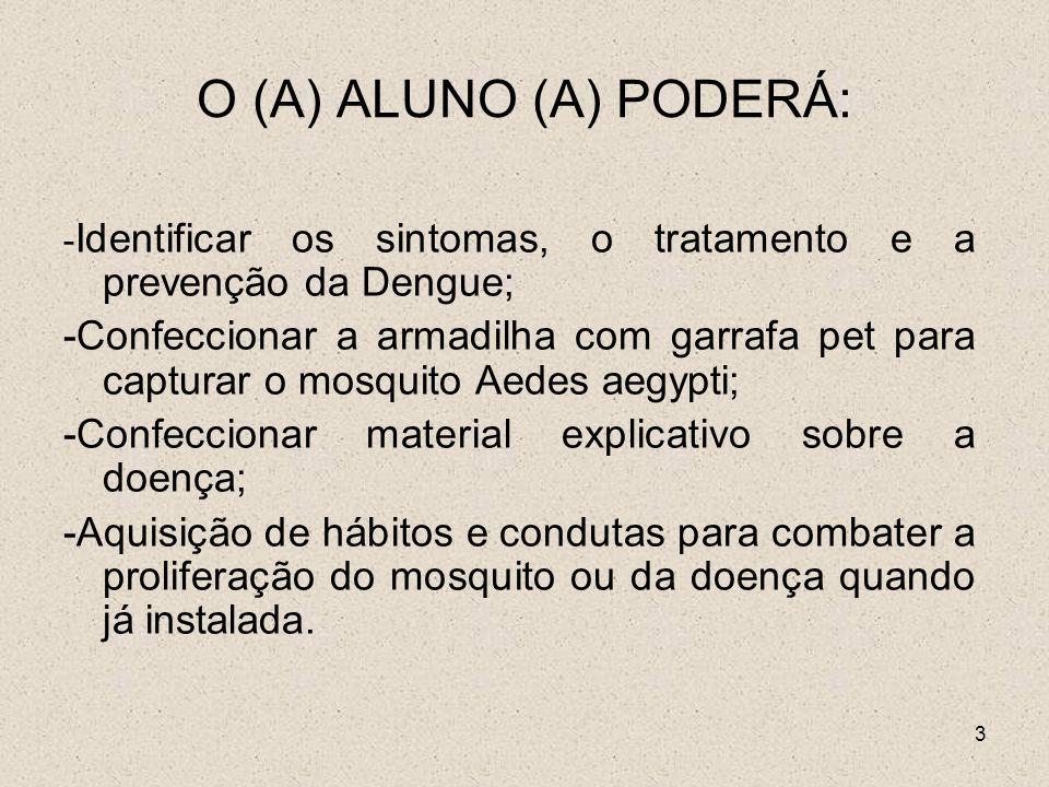 3 O (A) ALUNO (A) PODERÁ: - Identificar os sintomas, o tratamento e a prevenção da Dengue; -Confeccionar a armadilha com garrafa pet para capturar o m