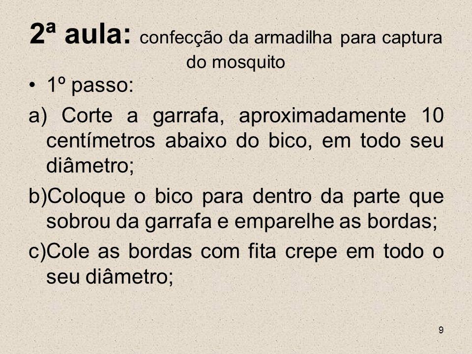 10 d) Derreta o açúcar mascavo em quatro colheres de água; e)Despeje essa mistura pelo biquinho da garrafa e coloque a mesma em algum lugar que você imagina que poderá capturar o mosquito.