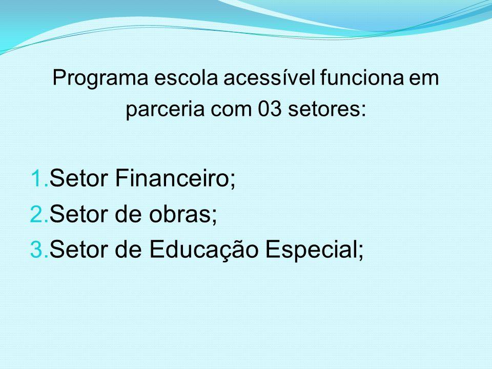 Programa escola acessível funciona em parceria com 03 setores: 1. Setor Financeiro; 2. Setor de obras; 3. Setor de Educação Especial;