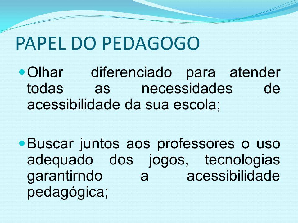 PAPEL DO PEDAGOGO Olhar diferenciado para atender todas as necessidades de acessibilidade da sua escola; Buscar juntos aos professores o uso adequado