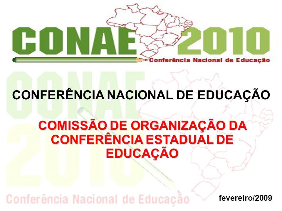 CONFERÊNCIA NACIONAL DE EDUCAÇÃO fevereiro/2009 COMISSÃO DE ORGANIZAÇÃO DA CONFERÊNCIA ESTADUAL DE EDUCAÇÃO
