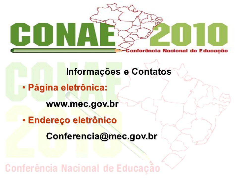 Informações e Contatos Página eletrônica: Página eletrônica:www.mec.gov.br Endereço eletrônico Endereço eletrônicoConferencia@mec.gov.br