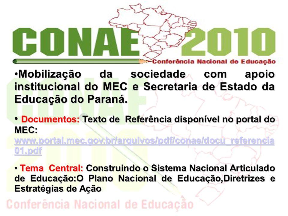 Mobilização da sociedade com apoio institucional do MEC e Secretaria de Estado da Educação do Paraná.Mobilização da sociedade com apoio institucional do MEC e Secretaria de Estado da Educação do Paraná.