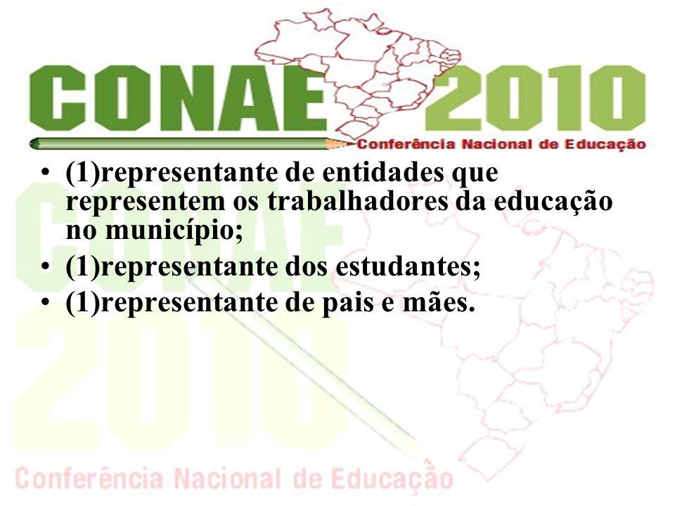 (1)representante de entidades que representem os trabalhadores da educação no município; (1)representante dos estudantes; (1)representante de pais e mães.