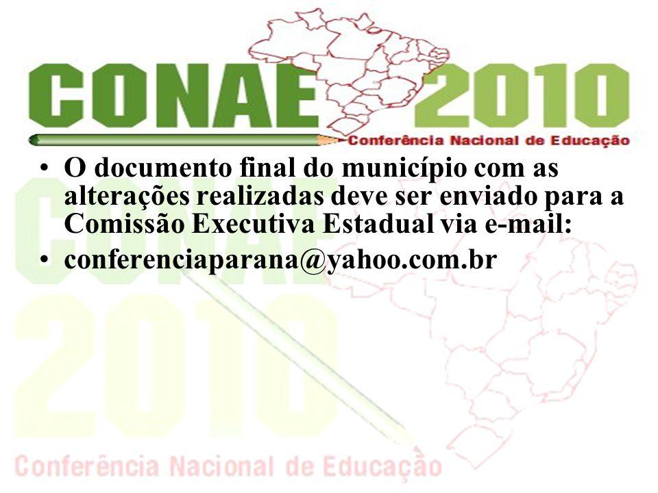 O documento final do município com as alterações realizadas deve ser enviado para a Comissão Executiva Estadual via e-mail: conferenciaparana@yahoo.com.br