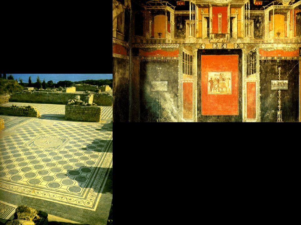 PINTURA Ligada à arquitetura Decorativa Temas: mitologia grega, vistas de cidades ou praças públicas e bucólicas, paisagens romanas.