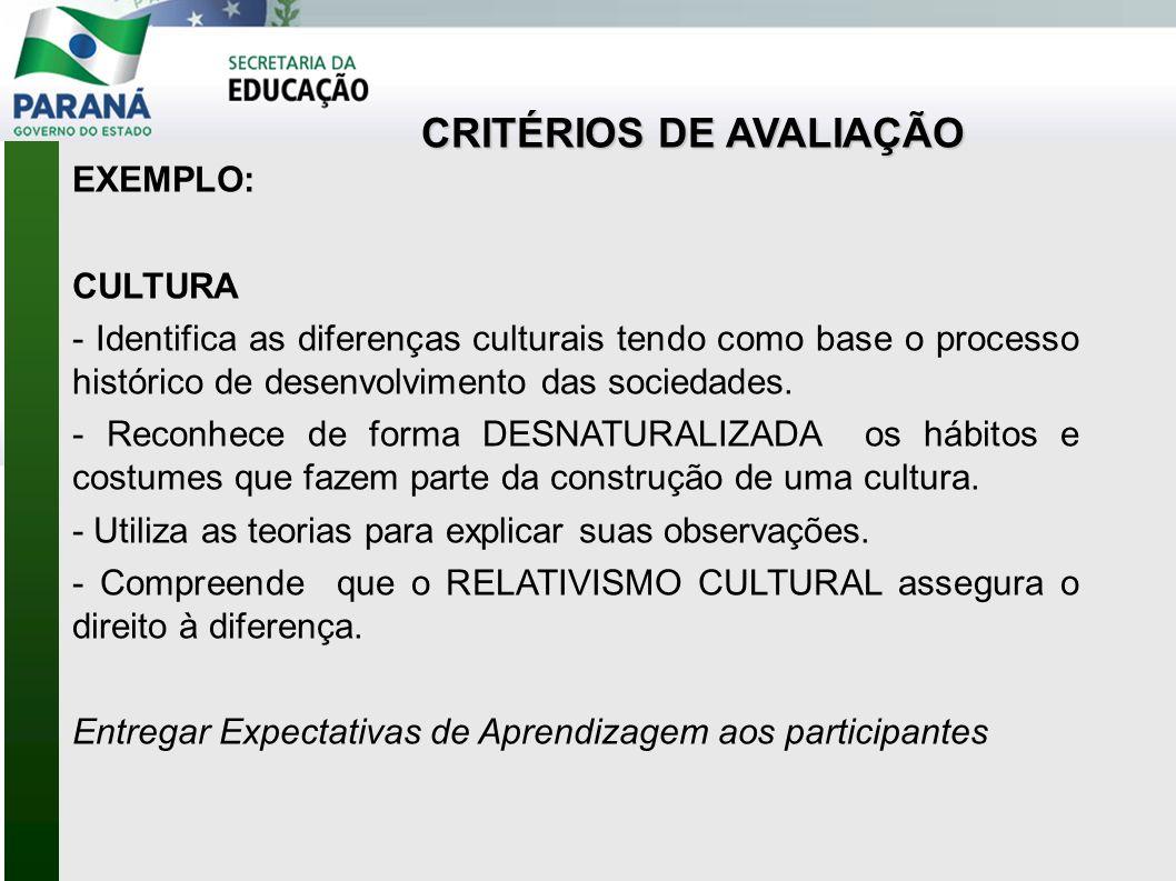 CRITÉRIOS DE AVALIAÇÃO EXEMPLO: CULTURA - Identifica as diferenças culturais tendo como base o processo histórico de desenvolvimento das sociedades.