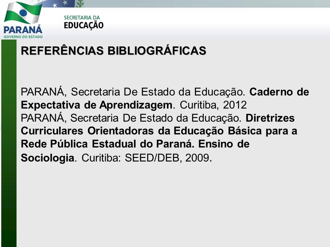 REFERÊNCIAS BIBLIOGRÁFICAS PARANÁ, Secretaria De Estado da Educação. Caderno de Expectativa de Aprendizagem. Curitiba, 2012 PARANÁ, Secretaria De Esta