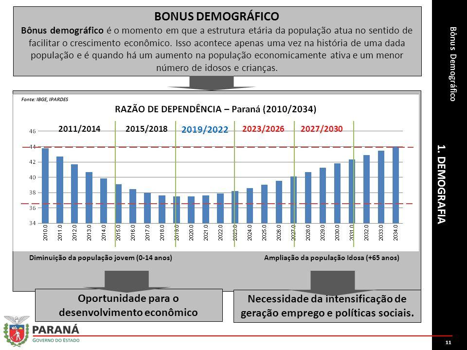 Bônus Demográfico 1. DEMOGRAFIA 2015/2018 2019/2022 2011/20142023/20262027/2030 Diminuição da população jovem (0-14 anos)Ampliação da população Idosa