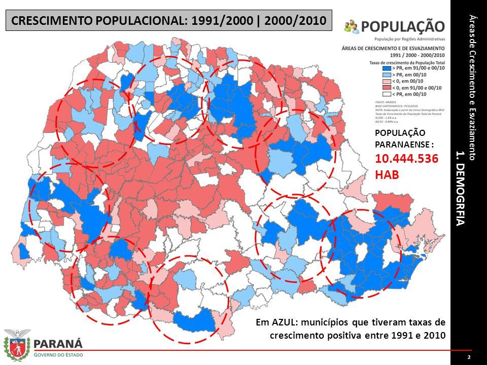 1. DEMOGRFIA Áreas de Crescimento e Esvaziamento CRESCIMENTO POPULACIONAL: 1991/2000 | 2000/2010 Em AZUL: municípios que tiveram taxas de crescimento