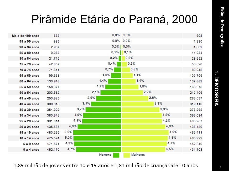 1. DEMOGRFIA Pirâmide Demográfica 4 Pirâmide Etária do Paraná, 2000 1,89 milhão de jovens entre 10 e 19 anos e 1,81 milhão de crianças até 10 anos