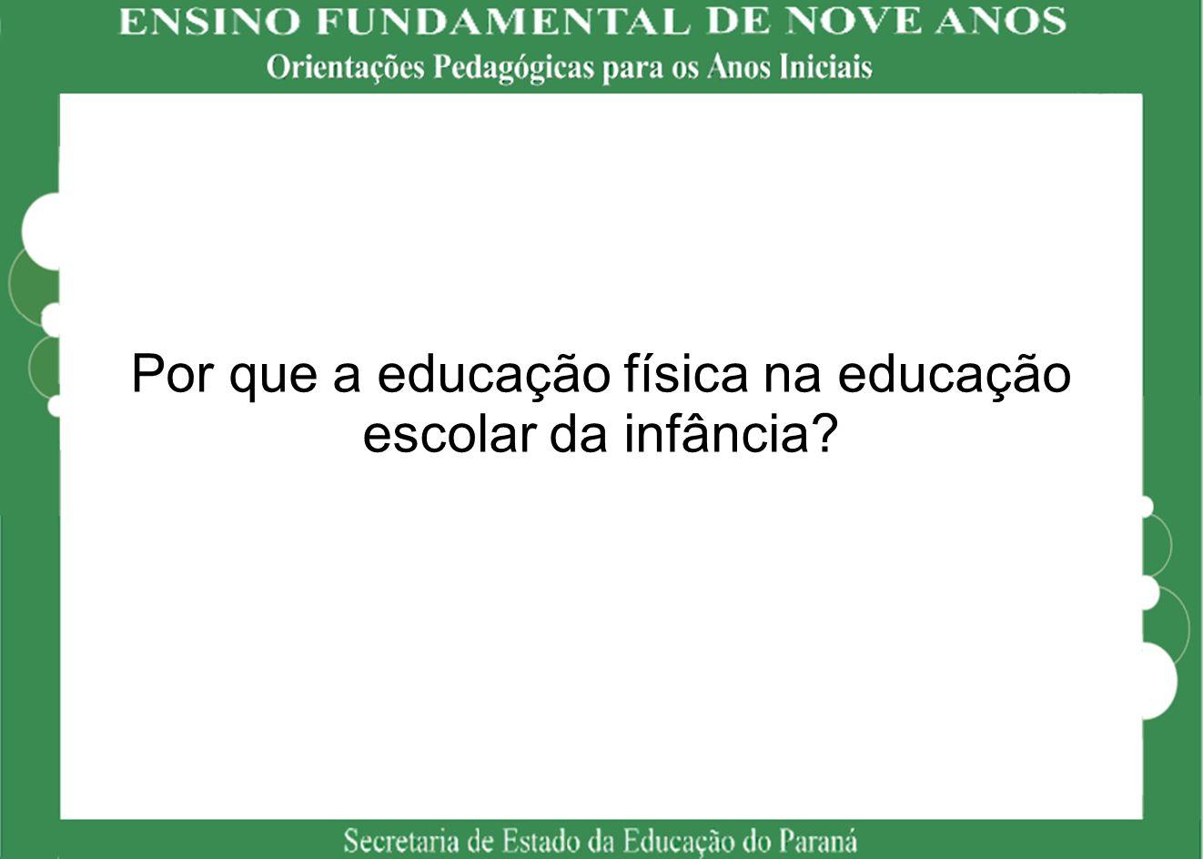 Por que a educação física na educação escolar da infância?