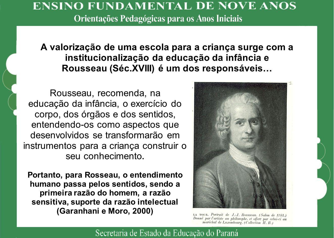 A valorização de uma escola para a criança surge com a institucionalização da educação da infância e Rousseau (Séc.XVIII) é um dos responsáveis… Rouss