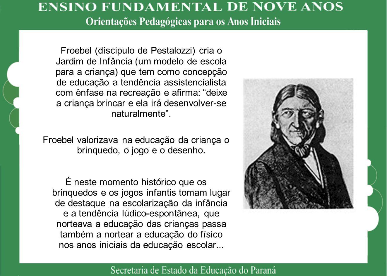 Froebel (díscipulo de Pestalozzi) cria o Jardim de Infância (um modelo de escola para a criança) que tem como concepção de educação a tendência assist