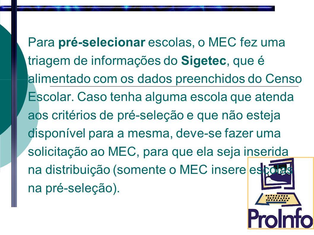 Para pré-selecionar escolas, o MEC fez uma triagem de informações do Sigetec, que é alimentado com os dados preenchidos do Censo Escolar.