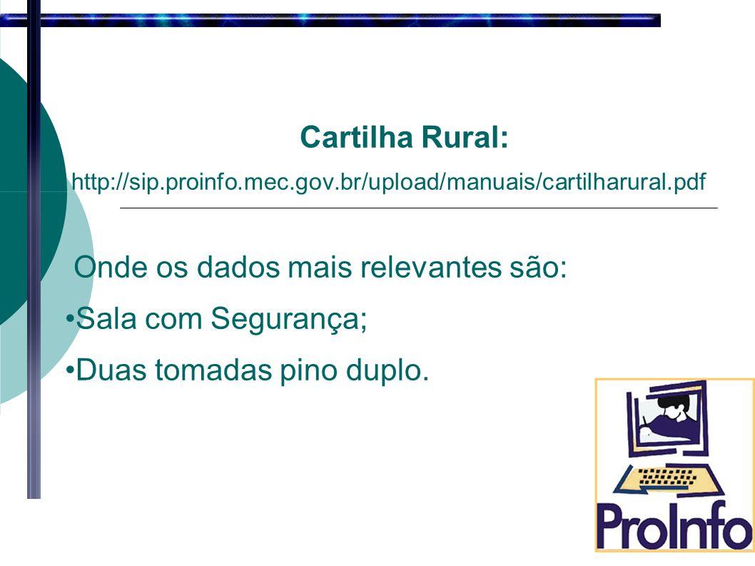 Cartilha Rural: http://sip.proinfo.mec.gov.br/upload/manuais/cartilharural.pdf Onde os dados mais relevantes são: Sala com Segurança; Duas tomadas pino duplo.