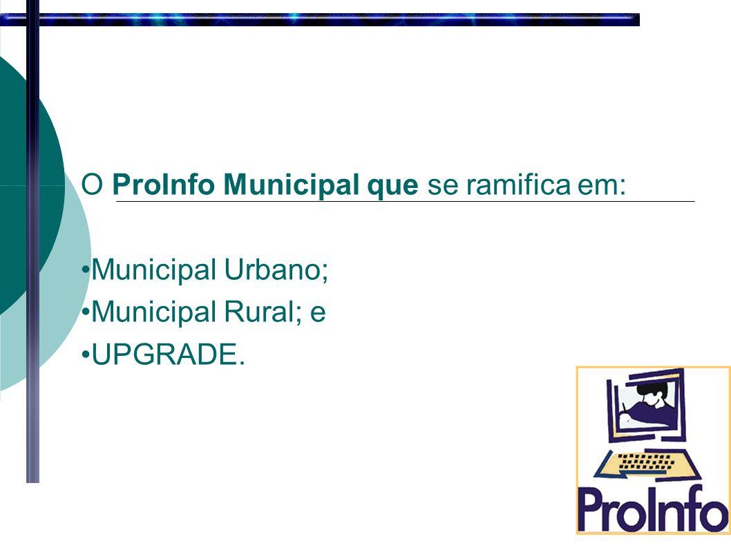 O ProInfo Municipal que se ramifica em: Municipal Urbano; Municipal Rural; e UPGRADE.