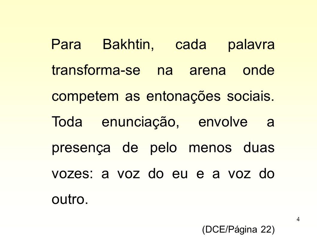 4 Para Bakhtin, cada palavra transforma-se na arena onde competem as entonações sociais. Toda enunciação, envolve a presença de pelo menos duas vozes: