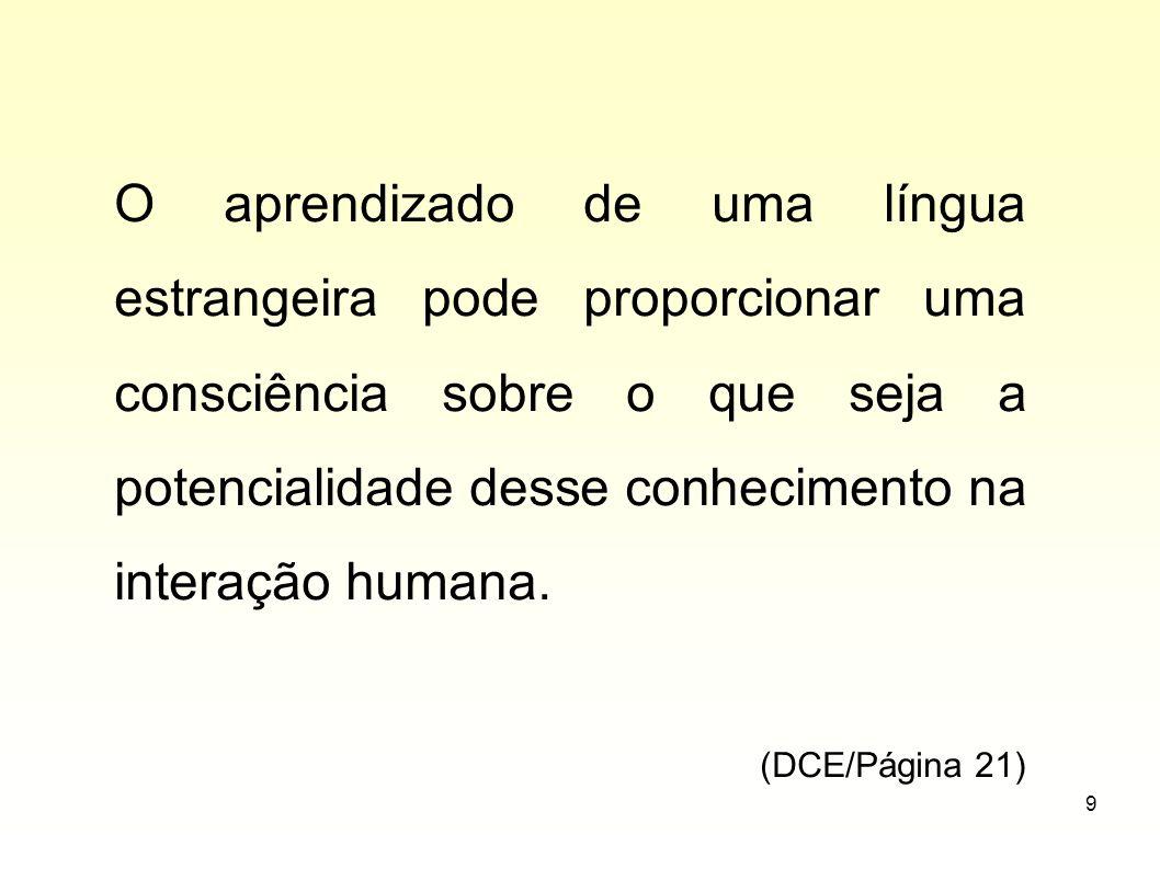 9 O aprendizado de uma língua estrangeira pode proporcionar uma consciência sobre o que seja a potencialidade desse conhecimento na interação humana.