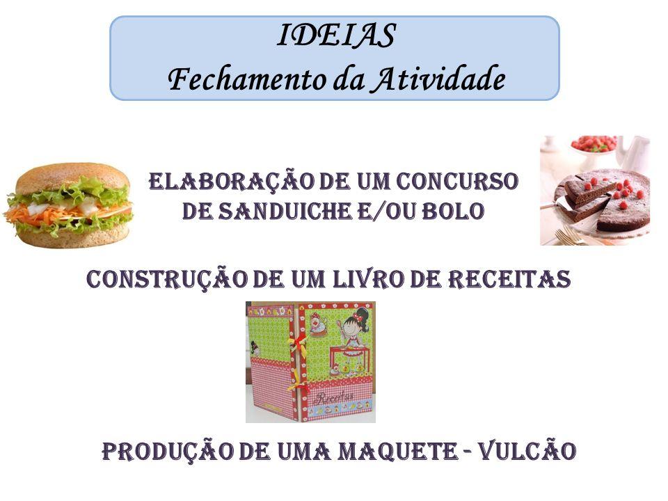 IDEIAS Fechamento da Atividade Elaboração de um Concurso de sanduiche e/ou bolo Construção de um liVRO DE RECEITAS Produção de uma maquete - vulcão